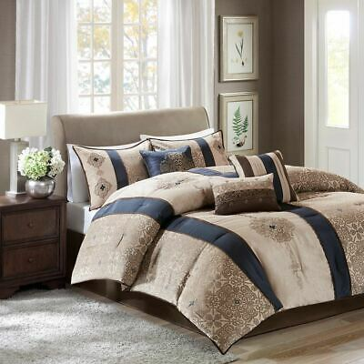 7PC NAVY BLUE & Taupe Striped Geometric Comforter Set AND ...