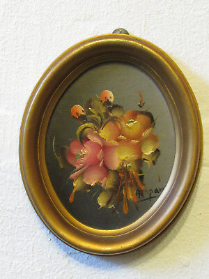 Original small Impasto Oil painting on board in frame flowers