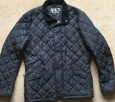 Barbour Mens Rib Neck Chelsea Sports quilt Jacket BLACK Size S SUPERB CONDITION