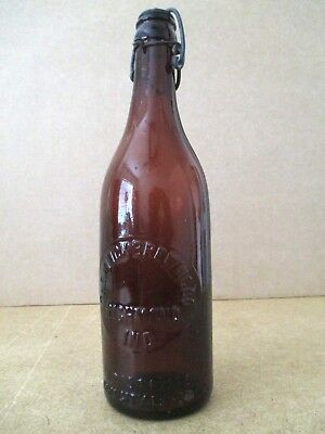 """Vtg THE MINCK BREWING CO Beer Bottle Richmond IN Brown Amber Glass 13.5 oz 9.75"""""""