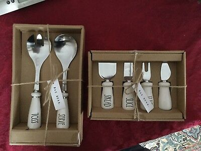 Rae Dunn TOSS SERVE, SHAVE SLIVER SLICE SPREAD Cellars Spoons Knives