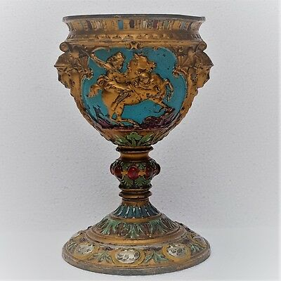 19th Art Nouveau Gilt & Painted Large Spelter Chalice with Amazones&Hermes Heads