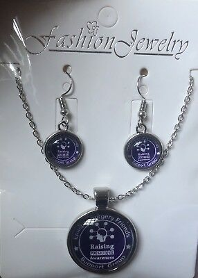 Epilepsy or Fibromyalgia Awareness Purple Ribbon Charms on 3.5cms Drop Earrings