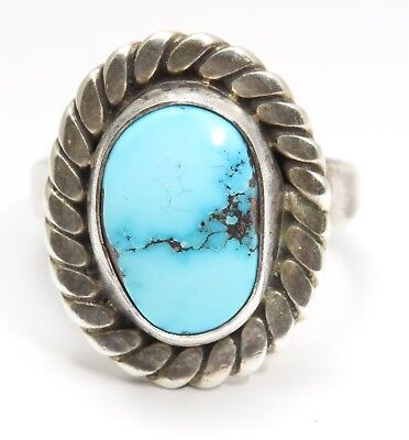 Vintage Navajo Sterling Silver Old Pawn Spiderweb Light Blue Turquoise Ring Sz6
