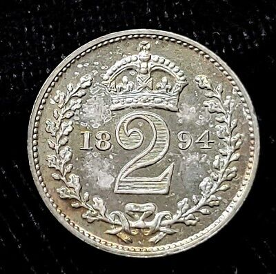 1894 Great Britain 2 Pence Maundy Twopence .925 Silver Coin KM# 776 Victoria