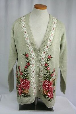 Vintage Marisa Christina Hand Knitted Floral Cardigan Sweater