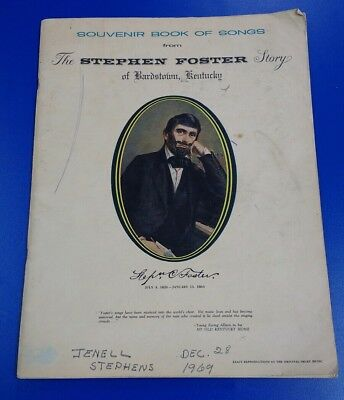 """Vintage """"The Stephen Foster Story of Bardstown, Kentucky"""" Souvenir Book of Songs"""