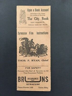 c1917 Syracuse, NY Directory of Fire Alarm Boxes, Fire Instructions, Fire Safety