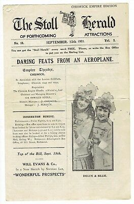 RARE Sept 1921 Issue THE STOLL HERALD Chiswick Empire Edition Vaudeville Theatre