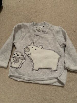 Tesco F&F Baby Grey Fluffy Jumper With Polar Bear And Penguin 3-6months