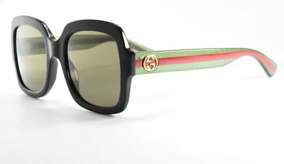 d0b1ff79929 Gucci GG0036S 002 Black   Green  w Red Stripe   Green Lenses Square  Sunglasses