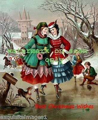 1874 Christmas Art~Italian Greyhound Dog~Girls IceSkating~Muff~NEW Note Cards