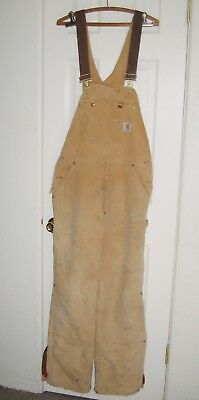 CARHARTT INSULATED BROWN DUCK BIB OVERALLS BUTTON FLY SIZE MENS 36x32