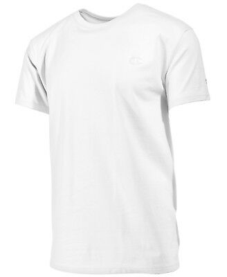 7745af020c7d  115 CHAMPION Mens CLASSIC FIT WHITE SHORT-SLEEVE CREW-NECK LOGO TOP T-