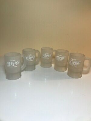 Vintage Hires Root Beer Small Frosted Mugs - Set Of 6