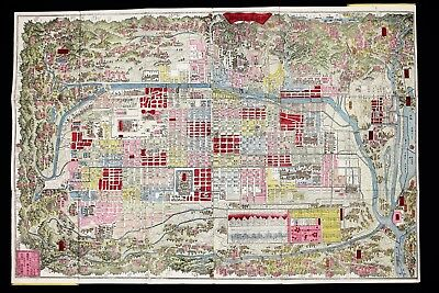 1879 Kyoto Japan Map Meji 12 Hashimoto Monumental Woodblock Bird's Eye View