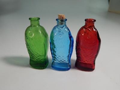 Miniature Fischs Fish Bitters Bottle Blue Glass Embossed: Wheaton Mini 3""