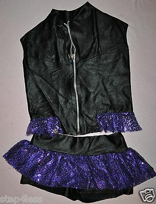 Marcea Two Piece outfit Black and purple Jacket and TuTu Skirt shorts ruffles