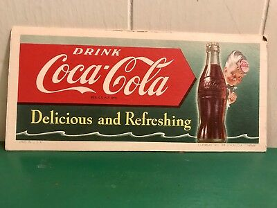 "Vintage 1951 Coca-Cola ""Delicious and Refreshing"" Ink Blotter Card Litho USA"