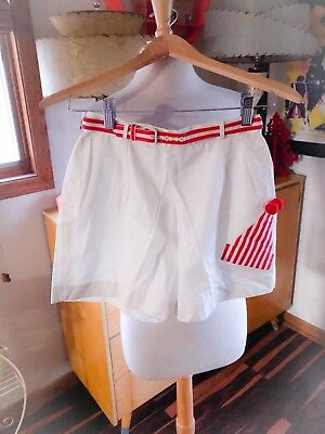 Vintage 1950s Shorts White red trim novelty Clown Hat XS S Rockabilly PinUp 50s