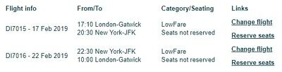 Return Flights - 1 person London To New York JFK (price Includes Name Changes)