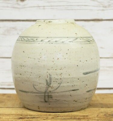 Antique Chinese Ming Dynasty Painted Stoneware Ginger Jar Vase 17th C Signed