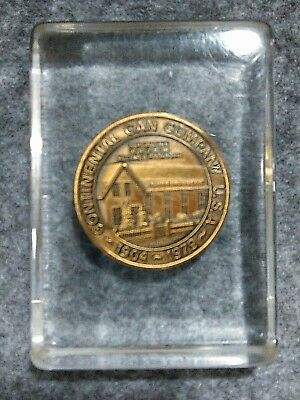 Continental Can Co 75th Anniversary Medal Paperweight Lucite 1979 Syracuse NY