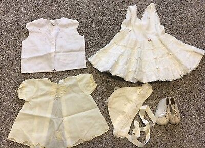 VINTAGE BABY Or DOLL CLOTHES LOT 0-12 Months Frilly Slip, Shoes, Bonnet Dresses