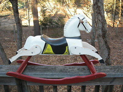 1950s - Early 1960's Vintage RICH TOYS ROCKING HORSE - Wood Plastic - Ships FREE