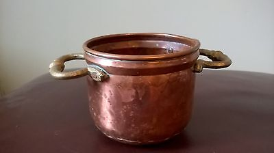 Vintage Copper Two Handl Planter 9Cmx11Cm Free Delivery Tub Plants Trough Herbs