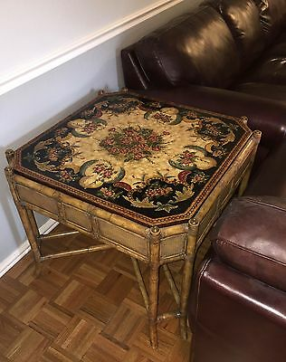 Hand Painted Maitland Smith table | rattan with crackled paint | Must see.
