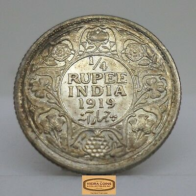 1919 British India Silver 1/4 Rupee, George V King Emperor  - #B12893