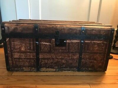 """Antique Wooden Trunk - """"Nov 8th 1664"""" stamped on the front - Needs some TLC"""