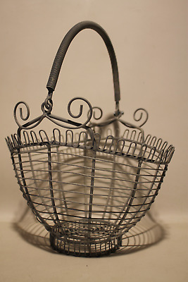 Vintage French Country Farm Footed Metal Wire Egg Basket With Coil Bail Handle