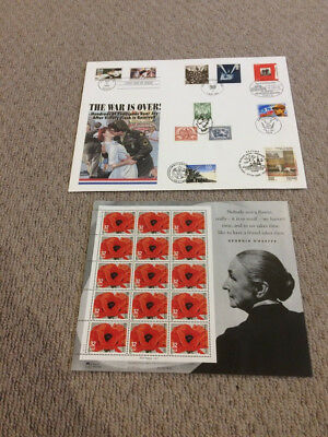1995 US - RED POPPY MINT SHEET - 15 X 32cts STAMPS & War is Over FDC Ltd Ed