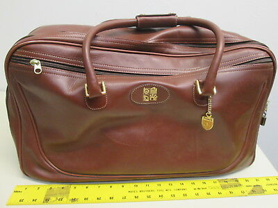 """French Luggage Co. Brown Leather Duffel carry-on travel bag Luggage suitcase 22"""""""