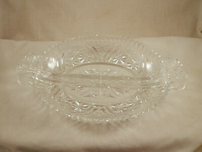 """Vintage EAPG 2 Section Scalloped Serving dish Star Pattern Clear Glass 10"""""""