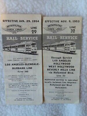 Lot Of 2 Metropolitan Coach Lines Timetables 1953-1954.