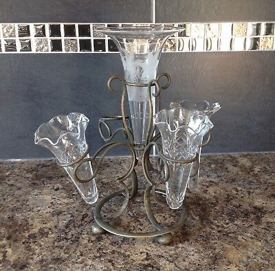 Victorian EPNS 5 Flute Hand Made Clear Glass  Epergne