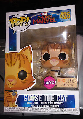 Funko POP Marvel BOX LUNCH Exclusive Captain Marvel Flocked Goose the Cat