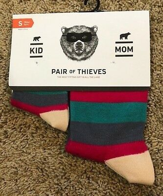 NEW Pair of Thieves Green Pink Stripe Twinsies Sock Set Mom Size & Kid Small