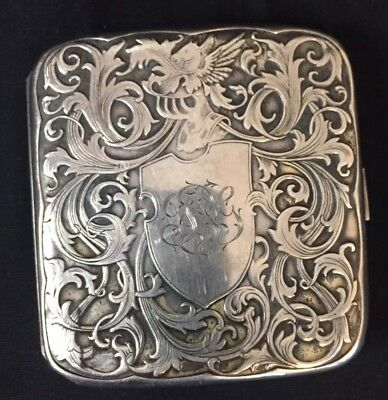 Pegasus! Antique Art Nouveau Sterling Silver Ornate Cigarette Case