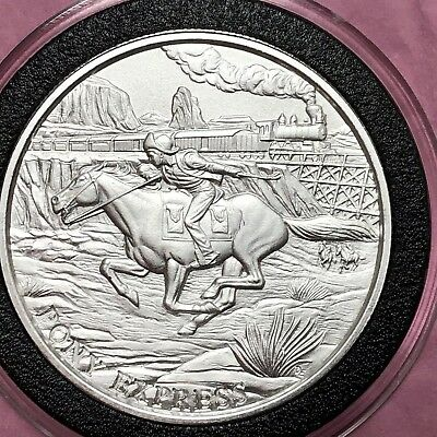 Pony Express Western Town 1 Troy Oz .999 Fine Silver Round Coin Medal Medallion