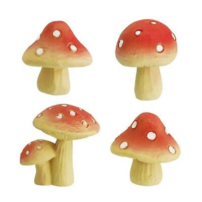 4 PIECE Miniature RESIN MUSHROOMS for FAIRY GARDEN DECOR 3 ASST'D STYLES