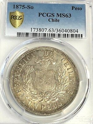 1875-So CHILE PESO, PCGS MS-63 UNC Gold Shield, Nicely Toned