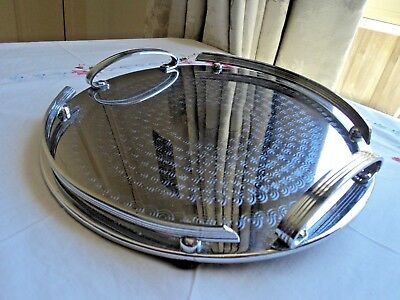 Ranleigh Art deco round stainless steel drinks tray - VGC