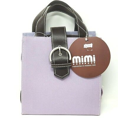 Mimi Collections Organizer Tote Purple Brown Straps Silver tone Buckle Foldable