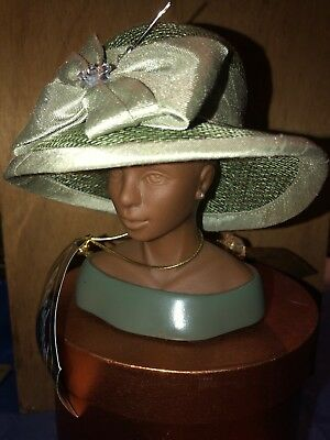 "Harriet Rosebud 2004 Miniature Green Sinamay With Silk ""Derby"" Hat & Bust"