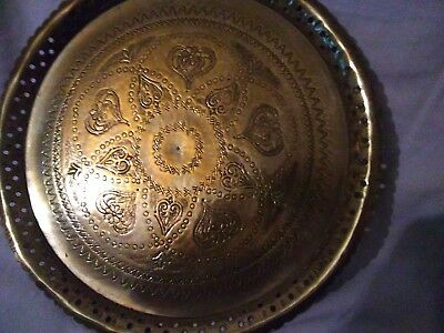 Vintage Engraved Indian Brass Tray