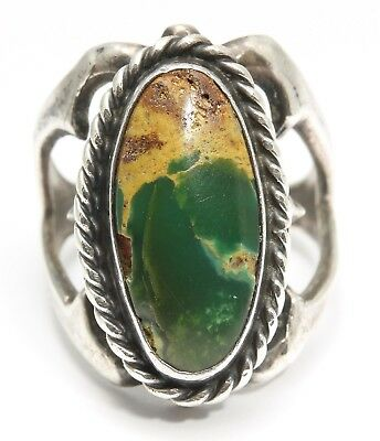 Vintage Navajo Sterling Silver Ornate Sandcast Spiderweb Green Turquoise Ring
